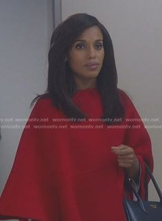 Olivia's red cape coat on Scandal. Outfit Details: https://wornontv.net/91211/ #Scandal