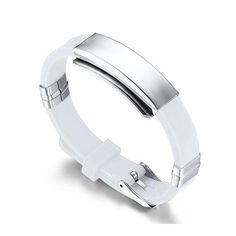 * Penny Deals * - SumBonum Jewelry Womens Ladies Stainless Steel Silicone ID Tag Cuff Bangle Bracelet,White Silver, 9' -- You can get more details by clicking on the image.