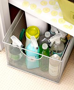 Bathrooms and laundry rooms require a lot of storage for supplies. Use wire storage baskets to corral items like soaps, cleaning products, brushes or sponges, and more. Pile supplies in a pretty basket, and slide it out of sight inside a cabinet or closet. #storage #basketstorageideas #cleaningtips #cleaningsuppliesorganization #bhg Bathroom Sink Storage, Bathroom Storage Solutions, Garage Bathroom, Wire Storage, Storage Baskets, Gift Baskets, Storage Ideas, Creative Storage, Smart Storage