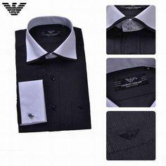 Camisas Armani Hombre VG40 Camisas Armani Hombre Manga Larga Negro Color  Puro y Mas Asequible 14c3ef744d1