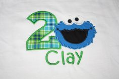 Green Cookie Monster Birthday Party Shirt by WhimsyBellesandBeaus, $22.99