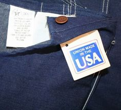 Vintage-Sears-Mens-Bib-Overall-Denim-34-x-36-Union-Made-USA-Workers-Cotton-NWT 151.20