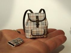burberry_bags...DESIGNER BACKPACK WITH WALLET #3 DOLLHOUSE MINIATURES