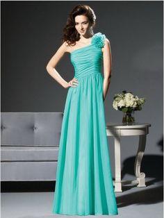 Applique Chiffon A-line One shoulder Floor Length Blue Prom Dress DMBD0002