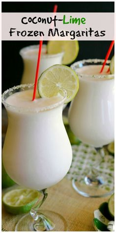 Coconut-Lime Frozen Margaritas make you feel like you've just arrived on a tropical island. Frozen Margaritas, Frozen Drinks, Frozen Margarita Recipes, Frozen Drink Recipes, Summer Drinks, Fun Drinks, Craft Cocktails, Alcohol Drink Recipes, Punch Recipes