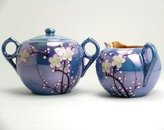 Hand Painted Noritake Lusterware Tea Set Creamer & Sugar Bowl , Cherry Blossom ,  RS Made in Japan