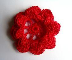 Thread Crochet Flowers - Red Irish Rose - Set of 3. $3.80, via Etsy.