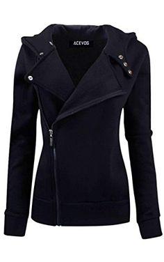 ACEVOG Women Slim fit Zip-up Hoodie Jacket Sweatshirt Hooded Outwear Coat…