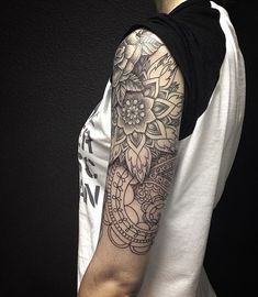 black and white arm tattoo