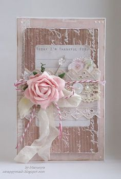 Soft Pink Shabby Card...with a rose.