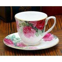 Pink English Rose Bone China Tea Cup (Teacup) and Saucer