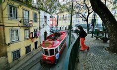 A tram in Lisbon's Alfama district.