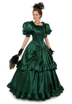 Magnolia Victorian Satin Ball Gown By Recollections Victorian Gown, Victorian Fashion, Vintage Fashion, Vintage Style, Southern Belle Dress, Satin Gown, Vintage Gowns, Beautiful Dresses, Ball Gowns