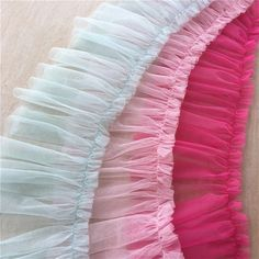 Pleated lace trims,mesh pleat,ruffled tulle lace,couture trims,prom ballet lyrical dance L Rose Fuchsia, Pink, Circle Skirt Tutorial, Lace Dream Catchers, Sewing Lace, Basic Sewing, Lyrical Dance, Paisley, Hand Embroidery Designs