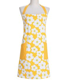 Take a look at this Design Imports Canary Yellow Big Blooms Apron by Design Imports on #zulily today!