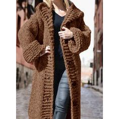Solid Chunky knit Hooded Casual Long Cardigan (1002322445) - Sweaters - #322445 vencano Hooded Cardigan, Long Cardigan, Sweater Cardigan, Dress For Short Women, Pullover, Hoods, Fur Coat, Knitting, Long Sleeve