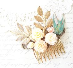 Verdigris Flying Sparrow Hair Comb  Flying by NestingPretty