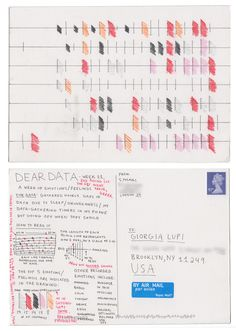 Dear-Data (www.dear-data.com) Week 11 - A week of emotions! Postcard by Stefanie