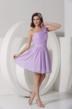 #Top 10 purple bridemaid dresses Aiven#Romsey Pretty Ruched Handmade Flower A line Short Bridesmaid Dress # Aiven.co.uk More from http://www.aiven.co.uk/bridesmaid-dresses-c135/a/purple_tone_o48v1064/