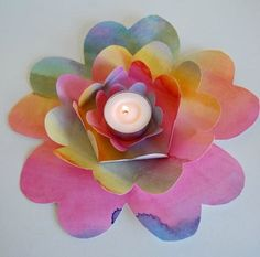 7. Paper Craft Ideas: Painted Flower Tealight Centrepiece - Parenting Fun Every Day