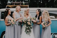 Bride Squad with trailing bouquet, floral crown and peach flowers - New Zealand Wedding Bonny Bridal, Mary's Bridal, Bridal Salon, Trailing Bouquet, Church Ceremony, Peach Flowers, Wedding Flower Inspiration, Bridesmaid Dresses, Wedding Dresses
