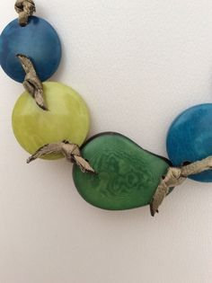 Handmade Tagua Necklace Blue & Green Necklace by RainforestGems