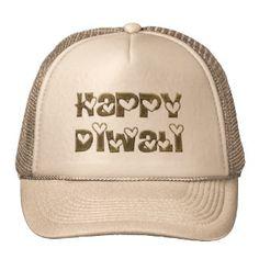 Happy Diwali Greeting Cute Hearts Typography Trucker Hat