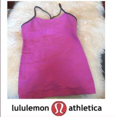 Dark Pink and Gray Lululemon Yoga/ Athletic Tank Dark Pink and Gray Lululemon Yoga/ Athletic Tank. 23 inches long. Follows Lulu size charts. Built in bra with padding. Bust is 13.75 in. Excellent condition. Feel free to make an offer. lululemon athletica Tops Tank Tops