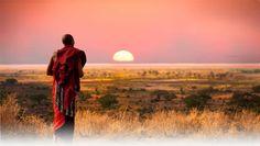 Massai Man Overlooking the Serengetti, Tanzania, Tanzania