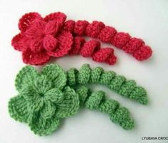 Instagram @lyubavacrochet - crochet hairpin curlecues with flower - no pattern avail - only pic for inspiration