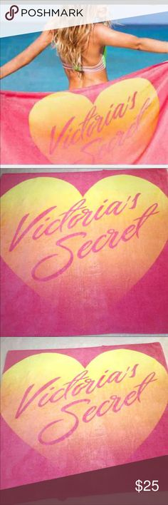 "Victoria Secret VS Pink Beach Towel NWT Brand New With Tags Victoria Secret Beach Towel  Aprox 60""x 30"" Pink and Yellow and Orange PINK Victoria's Secret Other"