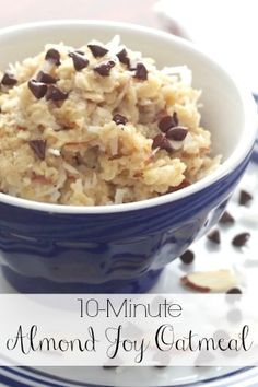 The delicious flavors of an Almond Joy candy bar in a healthy, super-fast stovetop oatmeal! The whole family will love it, and it'll keep 'em fueled up all morning!