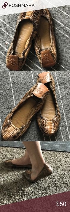 Tory Burch snake print ballet flats! 💛 Comfy, cute and bold Tory Burch snake print ballet flats. Have definitely been loved but there's still some wear left in them. Minor fault is the front of the flats are a little lifted but other than that in great condition :) Tory Burch Shoes Flats & Loafers