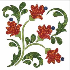 Blossoms - Block A - Fall - Applique By Patricia E. Ritter Laser-cut fabric applique elements backed with Steam-A-Seam 2 Fall Applique, Applique Quilt Patterns, Machine Quilting Patterns, Applique Templates, Flower Applique, Embroidery Applique, Quilting Designs, Owl Templates, Applique Ideas