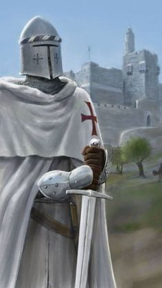 An old drawing of a Templar standing guard before the Citadel of David in Jerusalem, just now given a splash of digital colour. Original: [link] Templar of the Citadel Knight Drawing, Knight Art, Christian Soldiers, Knight Tattoo, Crusader Knight, Medieval Knight, Medieval Art, Medieval Times, Chivalry