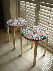 Crocheted covered stools