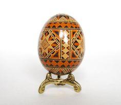 Brown Pysanka, batik egg on chicken egg shell, Ukrainian Easter egg, hand painted egg