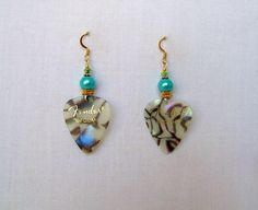 Fender Guitar Pick Abalone Earrings in Gold with by JazziSparklies