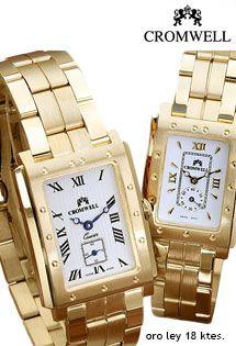 5baa48752de5 Relojes de oro para señora y caballero de maquinaria suiza marca Cromwell