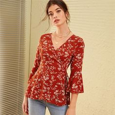V Neck Ditsy Floral Print Knot Side Boho Wrap Blouse Women Tops 2019 Autumn Holiday Flounce Sleeve Ladies Fitted Blouses, Red / XL Ditsy Floral, Floral Tops, Floral Prints, Blouse Wrap, Bohemian Fabric, Floral Sleeve, Ruffle Sleeve, Boho Look, Colorful Fashion