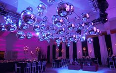 shiny silver balloons from ceiling