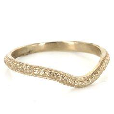 Antique Art Deco 14 Karat White Gold Embossed Flower Wedding Stack Band Vintage Estate Jewelry