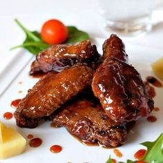 Chicken wings glazed with a finger-licking-delicious sweet & spicy sauce that is slightly sticky!