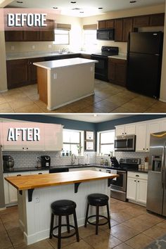 Huge kitchen before and after reveal! This kitchen makeover was a doozy with an extended kitchen island, butcher block, painted cabinets and more. Check out all the before and after inspiration and DIY tips in my kitchen makeover post! Cuisines Design, Home Projects, Home Remodeling, Kitchen Decor, Kitchen Interior, Ugly Kitchen, Kitchen Black, Kitchen Tables, Awesome Kitchen