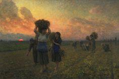 """The Last Gleanings"" (1895) von Jules-Adolphe Breton (geboren am 1. Mai 1827 in Courrières, Dépt. Pas-de-Calais, gestorben am 5. Juli 1906 in Paris), französischer Maler."