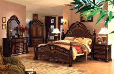 Mollai Collection 6PC Bedroom Set with Hand-Crafted Decorative Carvings - King   $2782.99