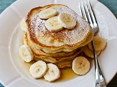 banana-pancakes - I adapted these using GF artisan flour (plus 1 tsp Xantham Gum) and flax milk.  substituted honey for sugar.  they were YUM!  texture of these was really good, but you don't really taste the bananas in the mix.
