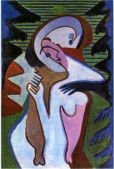 "german-expressionists: "" Ernst Ludwig Kirchner, Liebespaar (Der Kuss) [Lovers (The Kiss)], 1930 """