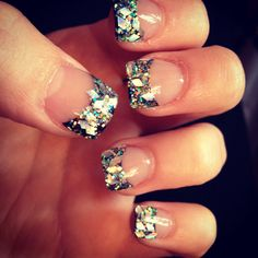 Outstanding New Years Nails Acrylic www. Your nails have to be filled every 2 weeks! Extremely thin nails might not be the very best for acrylics. New Year's Nails, Great Nails, Perfect Nails, Cute Nails, Hair And Nails, New Years Nail Designs, Cute Nail Designs, Acrylic Nail Designs, Solar Nails