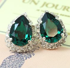 Emerald Gold Or Silver Teardrop Swarovski Crystal Earrings Our brand is legally licensed & authorized By Swarovski Company for high quality